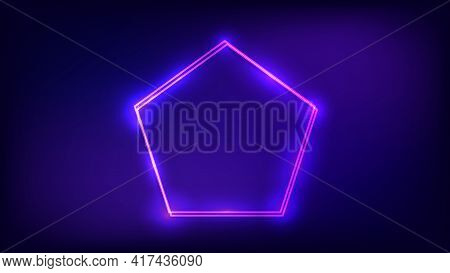 Neon Double Frame In Pentagon Form With Shining Effects On Dark Background. Empty Glowing Techno Bac