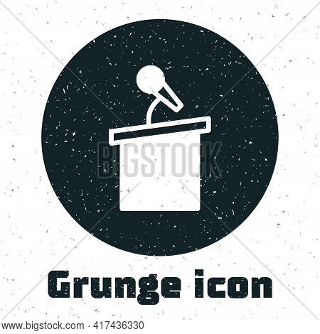 Grunge Stage Stand Or Debate Podium Rostrum Icon Isolated On White Background. Conference Speech Tri