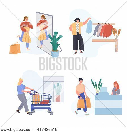 Shopping Concept Scenes Set. Customers Buy Clothes In Store, Woman Tries On New Dress, Man Pays Purc