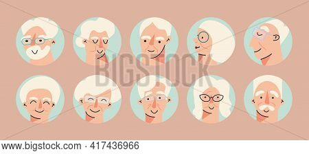 Senior People Avatar Big Bundle Set. Older User Pic, Different Human Mature Face Icons. Collection O