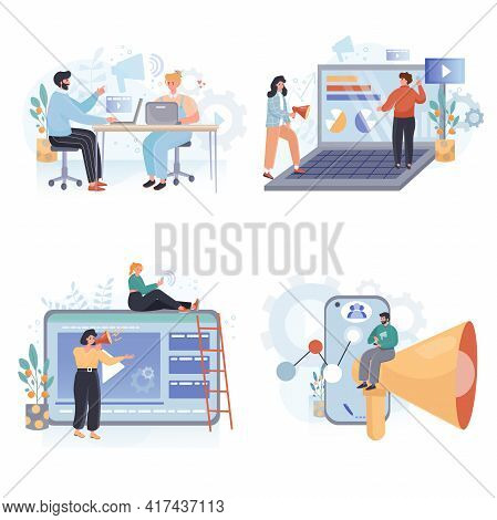 Digital Marketing Concept Scenes Set. Marketers Team Attracting Customers, Advertising Campaign, Bus