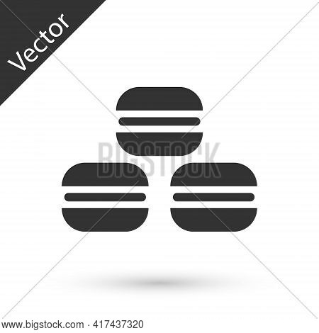 Grey Macaron Cookie Icon Isolated On White Background. Macaroon Sweet Bakery. Vector
