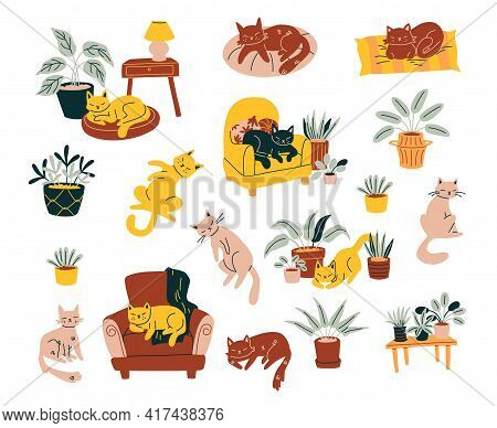 Cats & Home Decor Illustration. Set Of Cute Cats Doodle Style Elements Isolated On White.