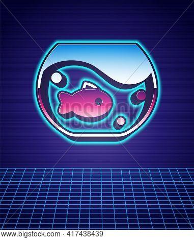 Retro Style Aquarium With Fish Icon Isolated Futuristic Landscape Background. Round Glass Aquarium.