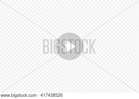 Play Button On Transparent Background. Transparent Play Sign For Multimedia Player Or Social Media S