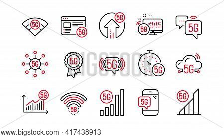 5g Technology Line Icons Set. Mobile Network, Phone Connection, Fast Internet. Hotspot Signal, Mobil