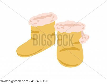 Pair Of Closed Winter Slipper Boots With Fur Line And Pompoms Isolated On White Background. Cozy Flu