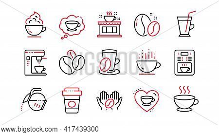 Coffee Line Icons. Beans, Hot Cocktail And Coffee Maker Machine. Espresso Cup, Cappuccino With Whipp