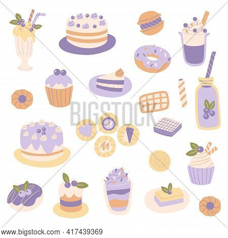 Hand Drawn Different Sweets Set. Muffin, Cocktail, Macaroon, Cupcake And Candy On The White Backgrou