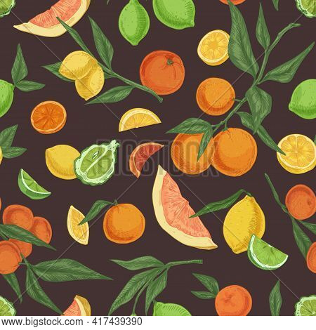 Seamless Fruity Pattern With Different Citrus Fruits On Black Background. Endless Repeatable Texture