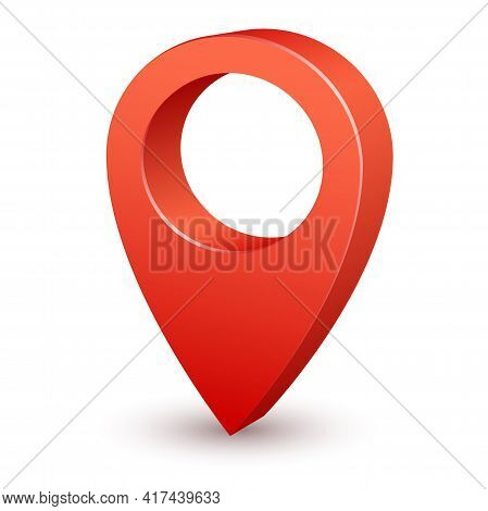 3d Pin Map Pointer. Red Marker For Travel Destination Place. Realistic Position Icon, Road Navigatio