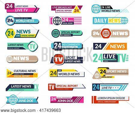 Banners Tv. Graphic Square Horizontal Internet Interface Broadcasting Decor Elements, Stripe Colorfu