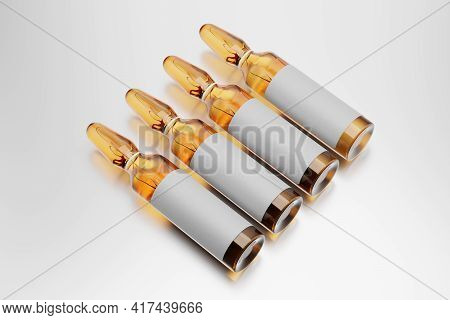 Four Brown Ampules With Blank Label Arranged In A Row. 3d Rendering Illustration.