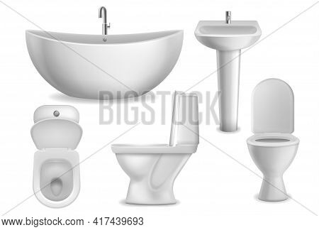 Bathroom Realistic Objects. White Bathtub, Toilet Seat And Washbasin With Faucet. Lavatory Ceramic B
