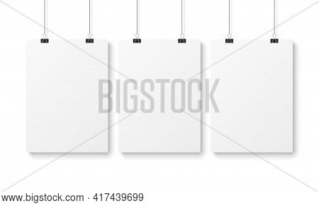 Blank Poster Template White Advertising Hanging Vertical Paper Pages. Picture, Document Or Banner Pr