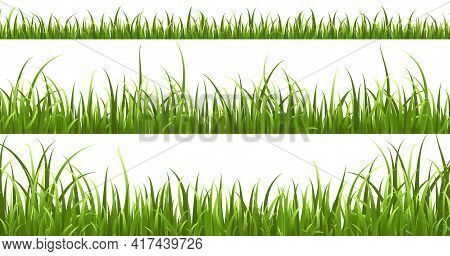 Green Grass Horizontal Borders. Lawn Shape Meadow Landscape Collection, Panorama Summer Nature Herbs