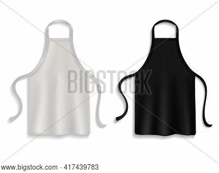 Chef Apron. Realistic Kitchen Uniform, Black And White Cooking Cloth, Clothes For Kitchener, Restaur