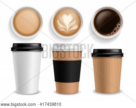 Coffee Cup. Takeaway Paper Cups Side And Top View Espresso And Latte Or Cappuccino, Morning Drink In