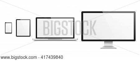 Computer Realistic Mockup. Smartphone And Tablet, Laptop And Tv, Devices With Blank White Empty Scre