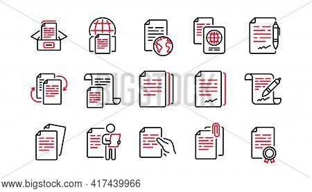 Documents Line Icons Set. Copy Files, Contract Agreement, Passport. Cv Interview, Documents Workflow