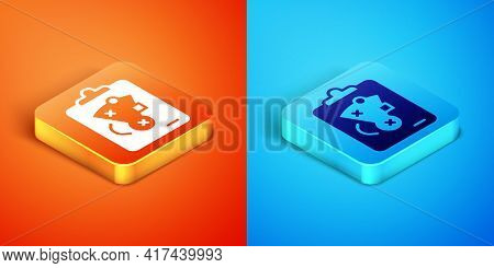 Isometric Planning Strategy Concept Icon Isolated On Orange And Blue Background. Baseball Cup Format