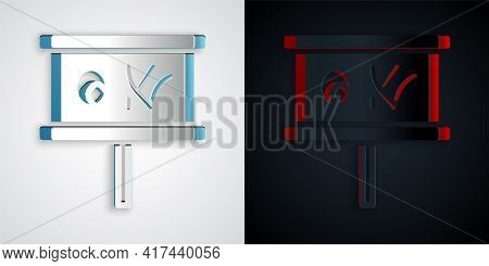 Paper Cut Planning Strategy Concept Icon Isolated On Grey And Black Background. Baseball Cup Formati