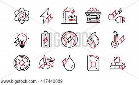 Energy Types Line Icons. Coal Trolley, Solar Panels, Hydroelectric Power Icons. Sustainable Electric