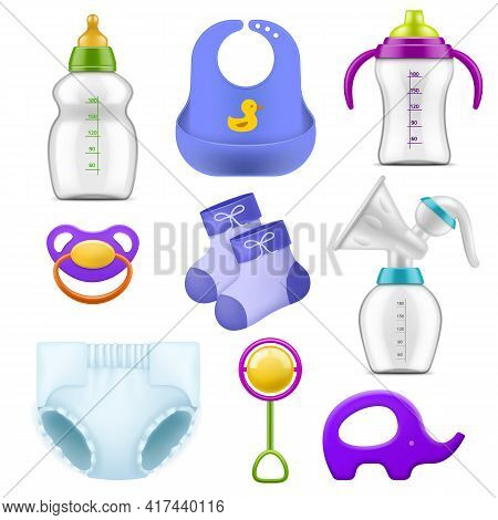 Baby Care Accessories. Realistic Childish Isolated Items, Nutritional And Hygiene Products, Milk Bot