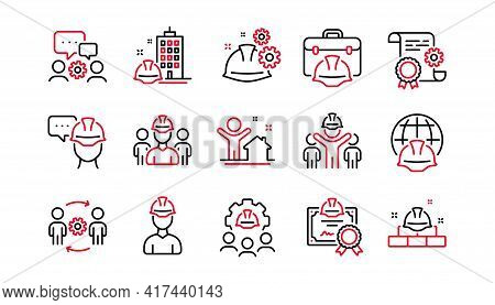 Engineering Line Icons Set. Technical Documentation, Teamwork And People. Blueprint With Gear, Engin