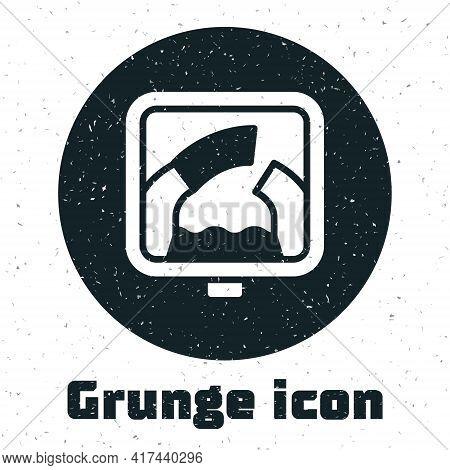 Grunge Drawbridge Ahead Icon Isolated On White Background. Information Road Sign. Monochrome Vintage