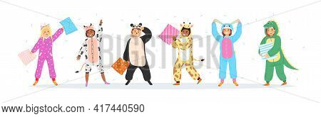 Kids Animal Pajamas. Smiling Boys And Girls In Overalls, Pillow Fight And Flying Feathers. Cute Slee