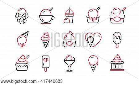 Ice Cream Line Icons Set. Frozen Yogurt, Vanilla Sundae, Bubble Waffle. Sweet Dessert Food, Milkshak