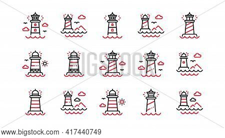 Lighthouse Line Icons. Searchlight Tower With Seagull For Marine Navigation Of Ships. Sea Pharos, Li