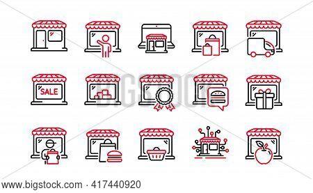 Market Store Line Icons. Online Marketplace, Wholesale Shop, Network Marketing. Store Showcase, Groc