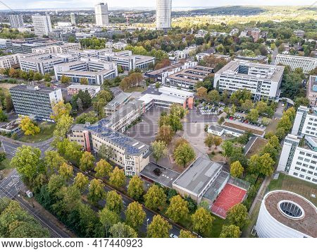 Friedrich Ebert Gymnasium School Federal Government District Aerial Panoramic View In Bonn City In G
