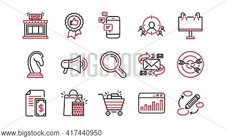 Marketing, Research Line Icons. Strategy, Feedback And Advertising Agency. Business Strategy Linear