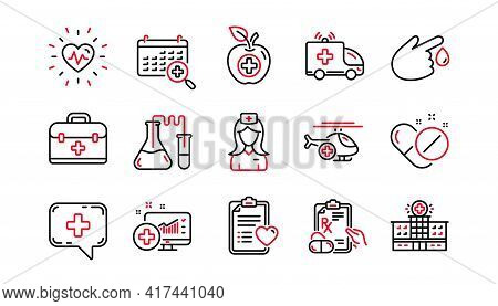 Medical Line Icons. Hospital Assistance, Health Food Diet And Laboratory. Chemistry Linear Icon Set.