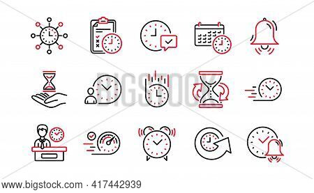Time Line Icons. Calendar, Time Management And Delivery. Hourglass Linear Icon Set. Linear Set. Qual