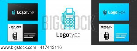 Grey Line Pos Terminal With Inserted Credit Card And Printed Reciept Icon Isolated On White Backgrou