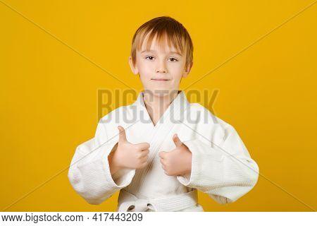 Happy Boy In White Kimono Practices Judo. Spirit Of Martial Arts. Martial Arts Concept. Healthy Spor