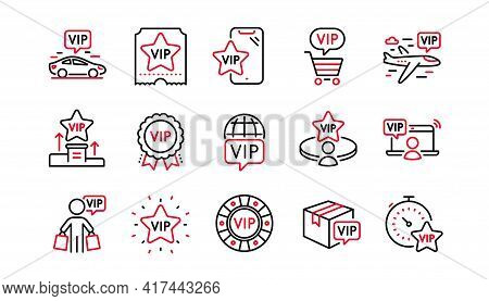 Vip Line Icons Set. Casino Chips, Certificate, Delivery Parcel. Very Important Person, Player Table,