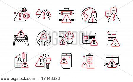 Warnings Line Icons. Risk Attention, Caution Sign And Exclamation Mark. Danger Alert, Error Caution,