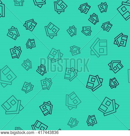 Black Line House Icon Isolated Seamless Pattern On Green Background. Home Symbol. Vector