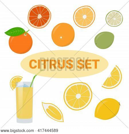 Summer Collection Of Vector Citrus Fruits - Lemon, Orange, Lime, Grapefruit. In Slices, Juice.
