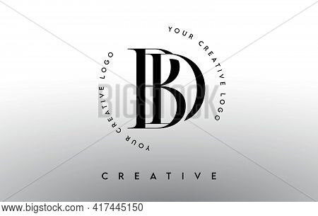 Bd Letter Logo Design With Serif Typography Font And Elegant Modern Look In Black And White Colors V