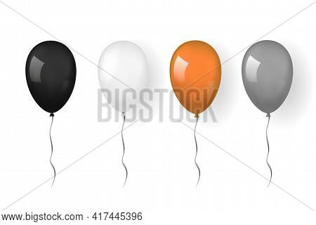 Balloon 3d Icon, Isolated White Background. Baloon Mockup For Halloween Party Celebration. Realistic