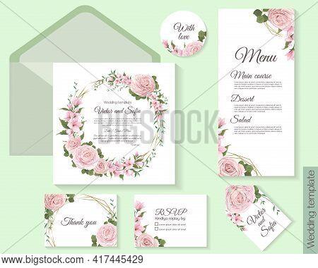 Floral Template For Wedding Invitation. Square Invitation Card, Menu, Fsvp, Thank You, Round Card. P