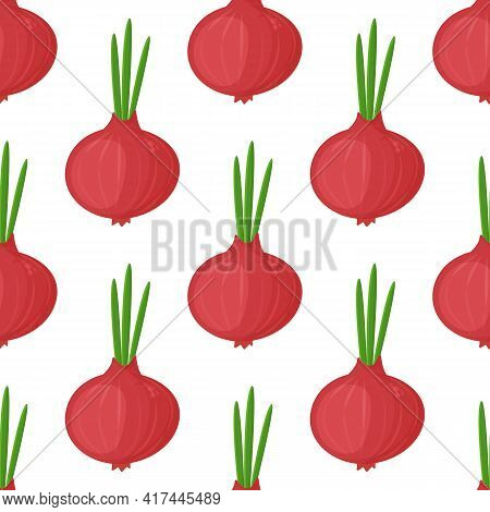Seamless Pattern Red Onion With Green Onion, Cutaway Onion Top View Isolated On Background, Flat Lay
