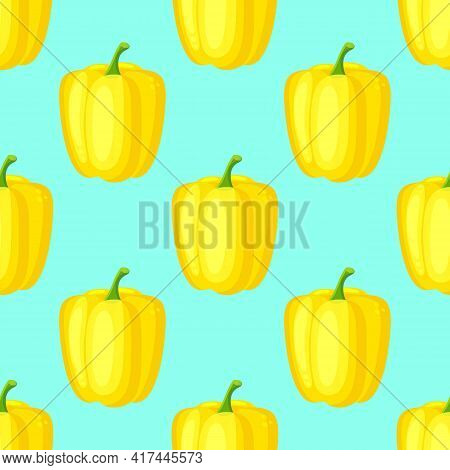 Yellow Paprika Pepper Seamless Pattern. Vector Decorative Design For Backdrops, Wrapping Paper, Fabr