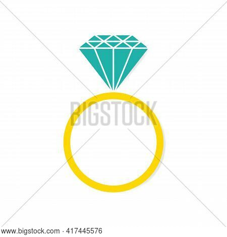 Ring With Diamond Or Other Gemstone Icon In Color. Wedding Ring. Engagement Or Marriage Ring Expensi